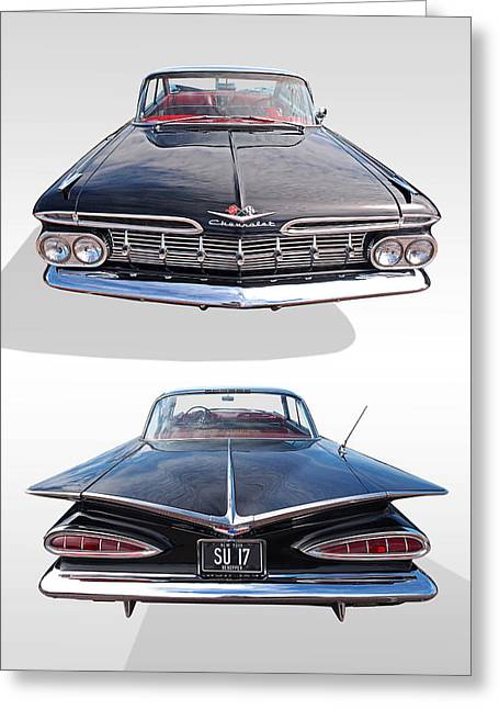 Chevrolet Impala 1959 Front And Rear Greeting Card