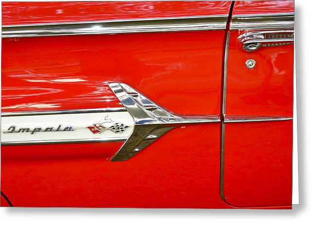 Chevrolet Impala Classic In Red Greeting Card by Carolyn Marshall