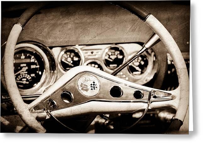 Chevrolet Impala Steering Wheel Emblem Greeting Card by Jill Reger