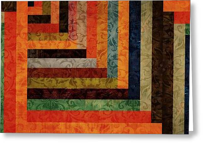 Chevron Brocade Triptych Greeting Card by Michelle Calkins