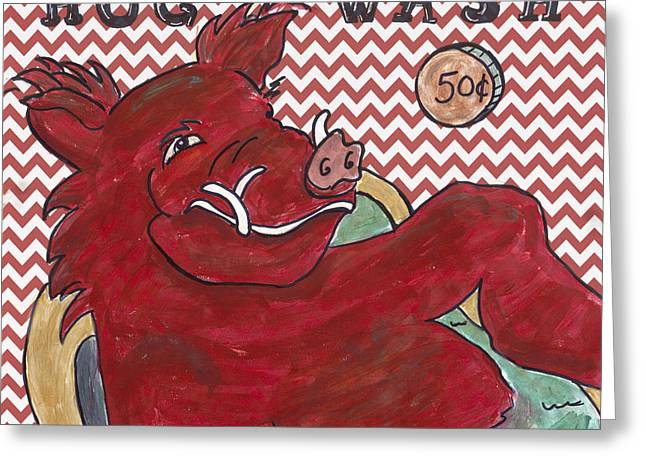Chevron Hog Wash Greeting Card