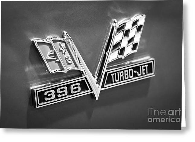 Chevy 396 Turbo-jet Emblem Black And White Picture Greeting Card by Paul Velgos