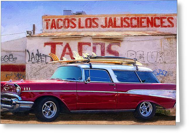 Chevy And Tacos Greeting Card by Ron Regalado
