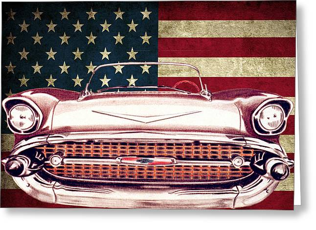 Chevy Bel Air 57 Greeting Card by Diego Abelenda