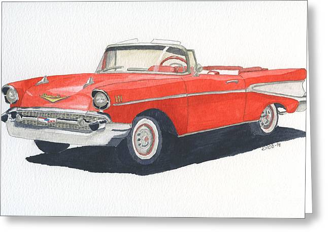 Chevy Bel Air Convertible 57 Greeting Card