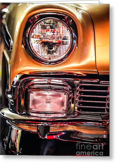 Chevy Bel Air Headlight Greeting Card by Shanna Gillette