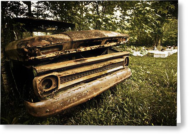 Chevy Graveyard Greeting Card by Andy Crawford