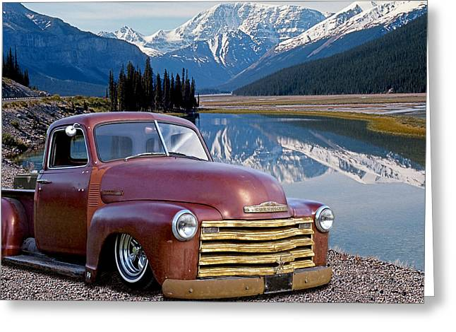 Chevy Pick Up In The Rockies Greeting Card by Gill Billington