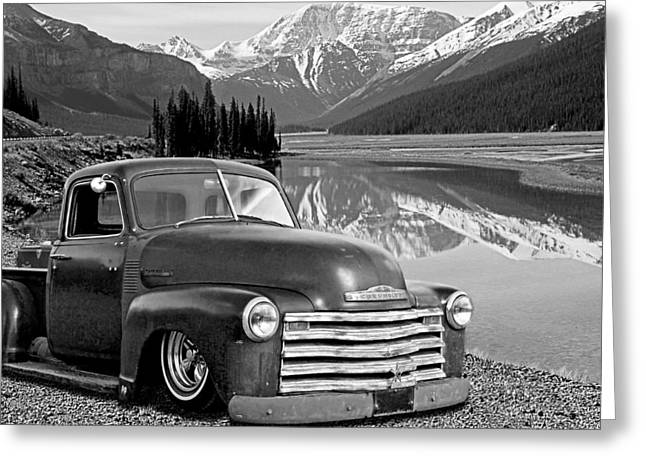 Chevy Pickup In The Rockies In Black And White Greeting Card by Gill Billington