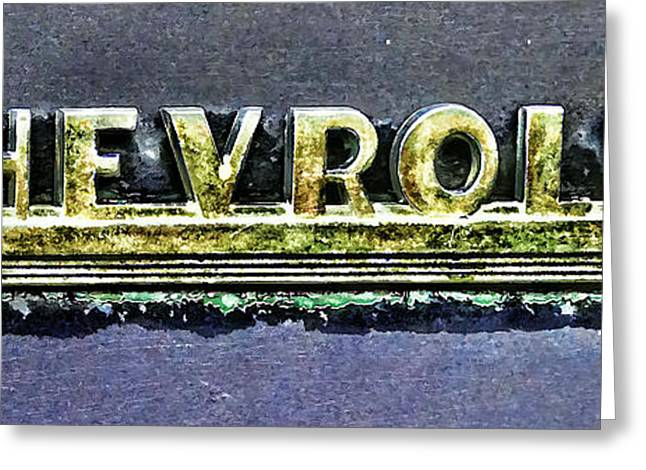 Chevy Pickup Truck Fender Emblem Greeting Card by Ken Smith