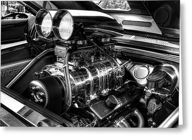 Chevy Supercharger Motor Black And White Greeting Card