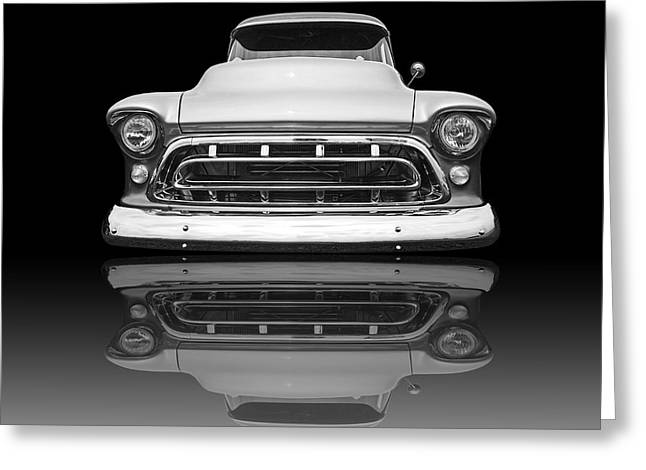 Chevy Truck Reflection On Black Greeting Card by Gill Billington