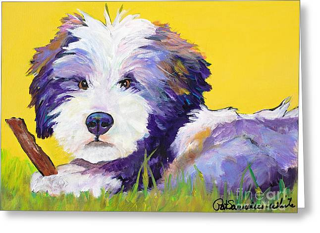 Chew Stick Greeting Card by Pat Saunders-White