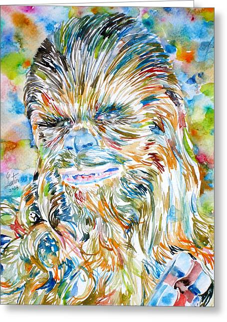 Chewbacca Watercolor Portrait Greeting Card by Fabrizio Cassetta