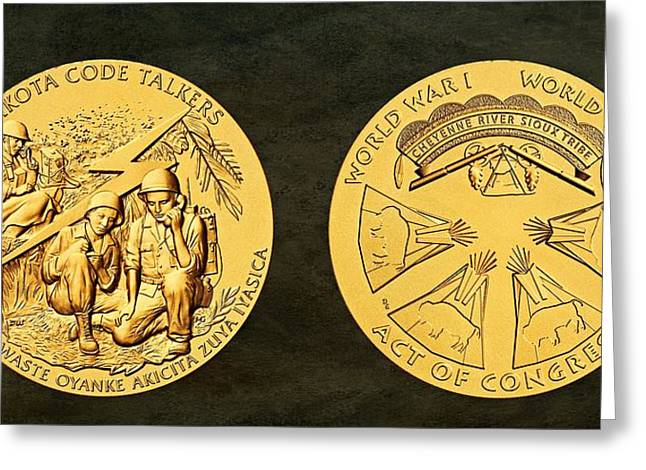 Cheyenne River Sioux Tribe Code Talkers Bronze Medal Art Greeting Card by Movie Poster Prints