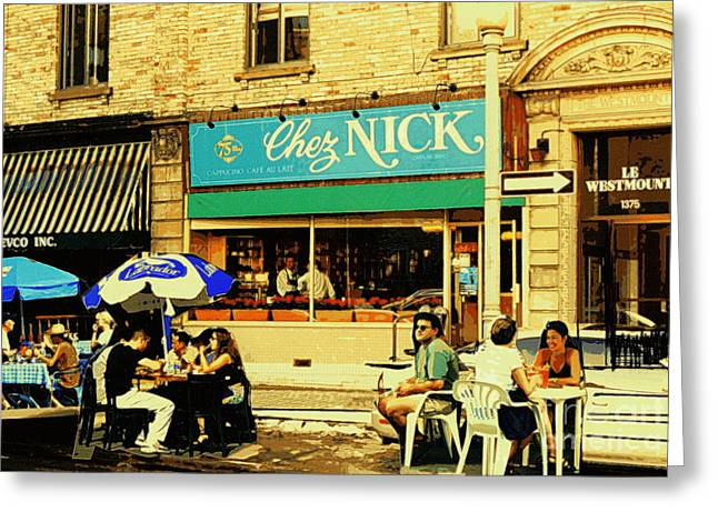 Chez Nick On Greene Avenue Montreal In Summer Cafe Art Westmount Terrace Bistros And Umbrellas Greeting Card by Carole Spandau