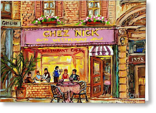 Chez Nicks Restaurant Paris Style Bistro Paintings Art Of Montreal City Scenes Romantic Diners  Greeting Card