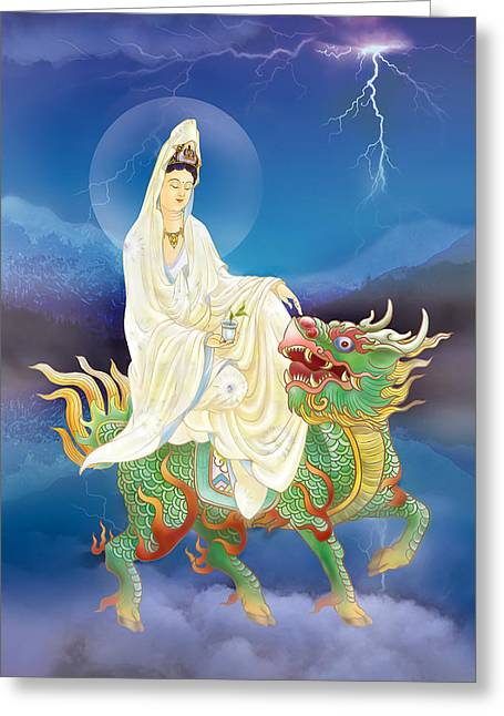 Greeting Card featuring the photograph Chi Lin Kuan Yin by Lanjee Chee
