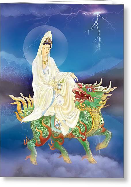 Chi Lin Kuan Yin Greeting Card by Lanjee Chee