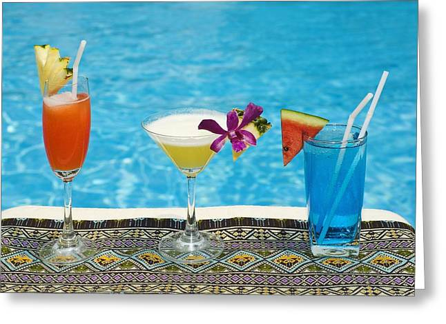 Chiang Mai, Thailand Tropical Drinks By Greeting Card by Stuart Corlett