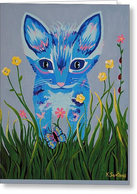 Greeting Card featuring the painting Chibi by Kathleen Sartoris