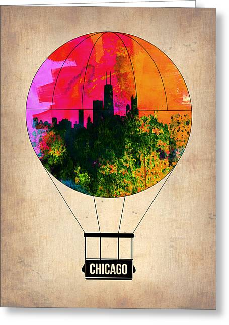 Chicago Air Balloon Greeting Card by Naxart Studio