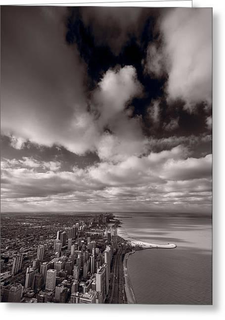 Chicago Aloft Bw Greeting Card by Steve Gadomski