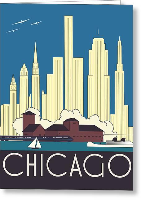 Chicago Art Deco Skyline Greeting Card by Josef Spalenka