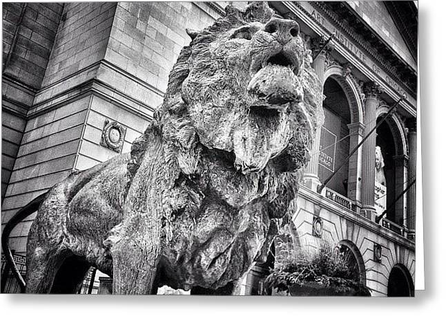 Lion Statue At Art Institute Of Chicago Greeting Card by Paul Velgos