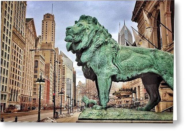Chicago Art Institute Lion Statue Greeting Card
