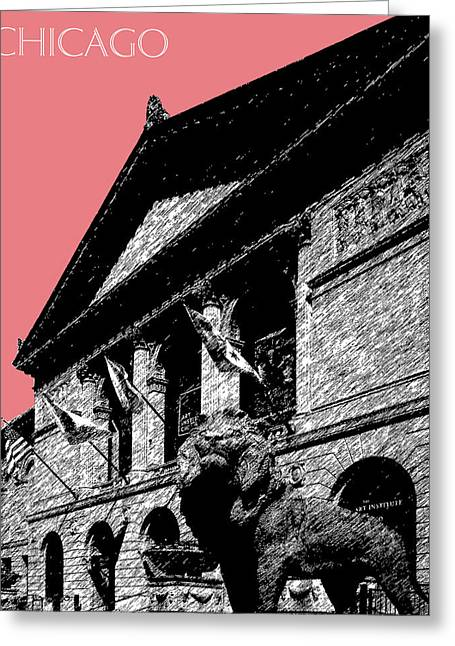 Chicago Art Institute Of Chicago - Light Red Greeting Card by DB Artist