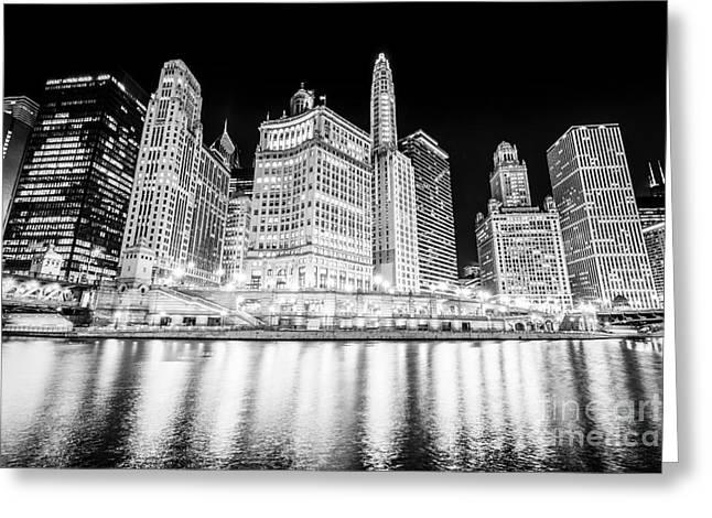 Chicago At Night Black And White Picture Greeting Card by Paul Velgos
