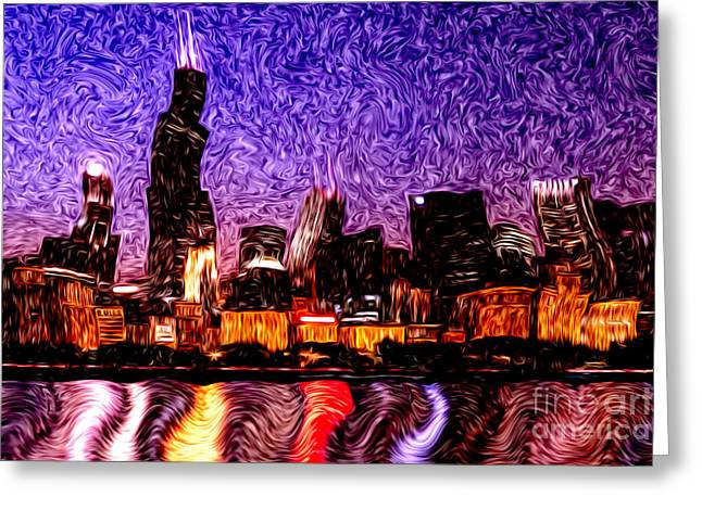 Chicago At Night Digital Art Greeting Card by Paul Velgos