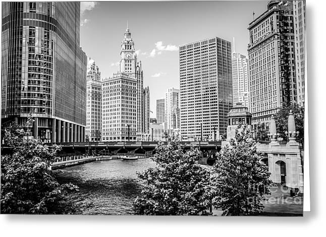 Chicago At Wabash Bridge Black And White Picture Greeting Card