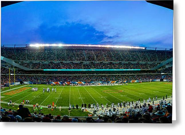 Chicago Bears At Soldier Field Greeting Card by Steve Gadomski