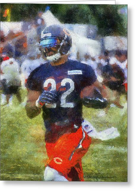 Chicago Bears Rb Matt Forte Training Camp 2014 Photo Art 02 Greeting Card by Thomas Woolworth