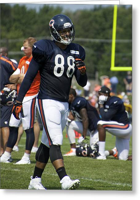 Chicago Bears Te Dante Rosario Training Camp 2014 02 Greeting Card by Thomas Woolworth