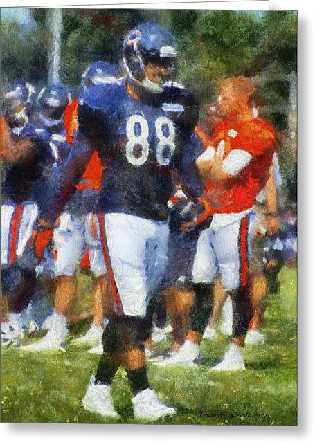Chicago Bears Te Dante Rosario Training Camp 2014 Photo Art 02 Greeting Card by Thomas Woolworth