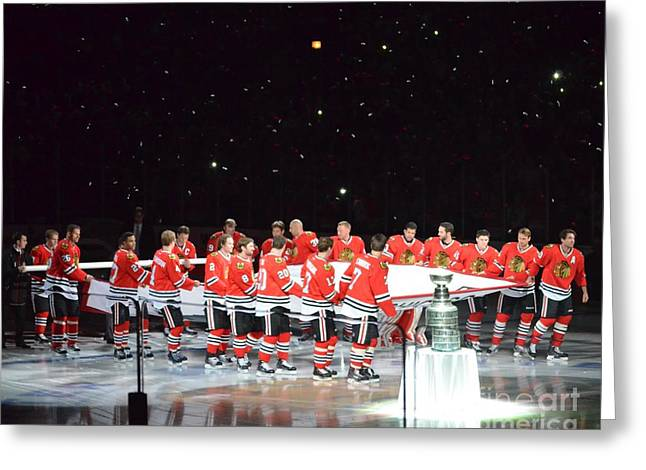 Greeting Card featuring the photograph Chicago Blackhawks And The Banner by Melissa Goodrich