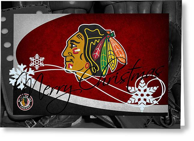 Chicago Blackhawks Christmas Greeting Card by Joe Hamilton