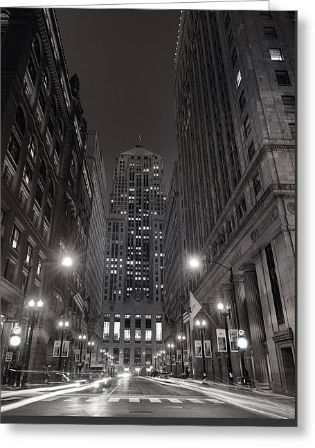 Chicago Board Of Trade B W Greeting Card by Steve Gadomski