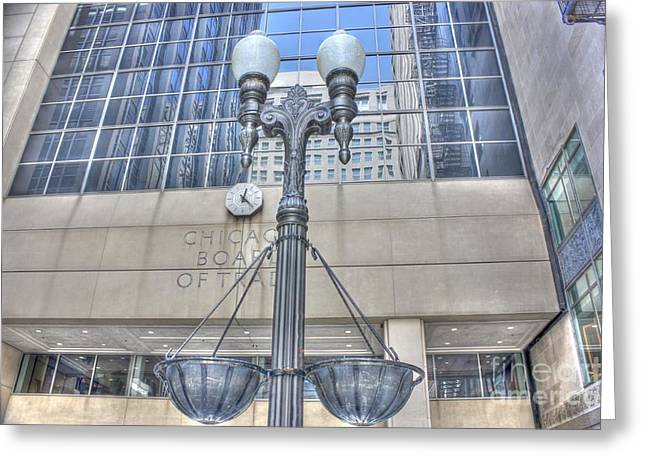 Chicago Board Of Trade Entrance Greeting Card by David Bearden