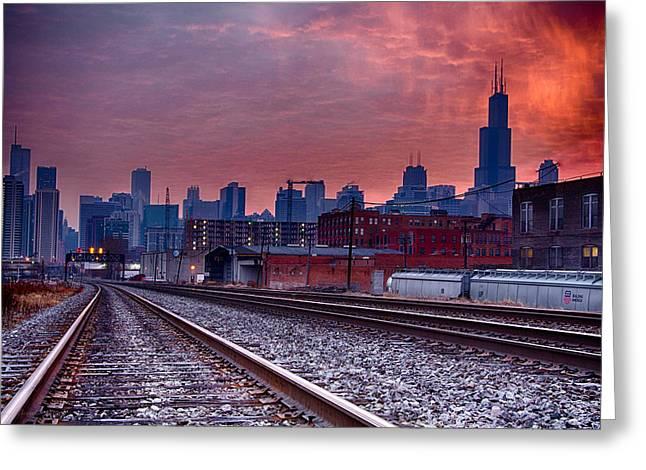 Chicago Bound 12-2-13 Sunrise  Greeting Card by Michael  Bennett