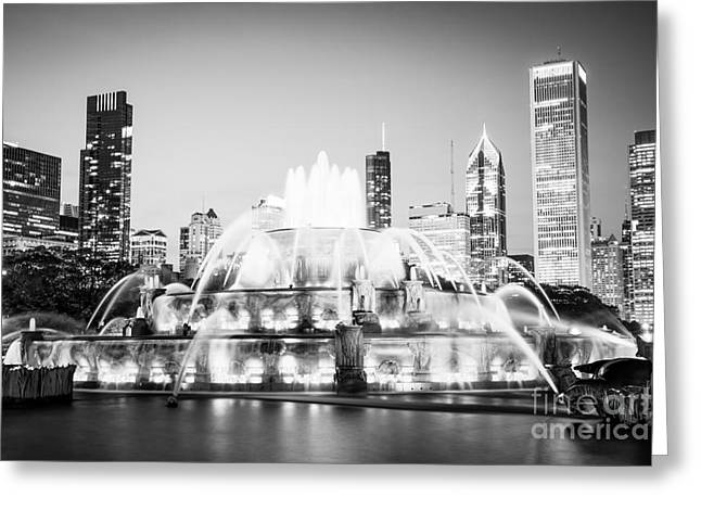 Chicago Buckingham Fountain Black And White Picture Greeting Card by Paul Velgos