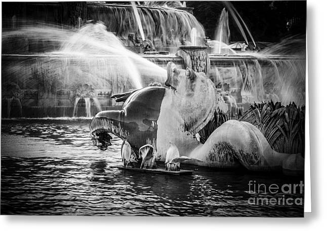 Chicago Buckingham Fountain Seahorse In Black And White Greeting Card by Paul Velgos