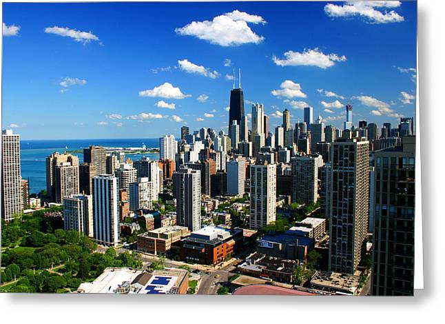 Chicago Buildings Skyline Clouds Greeting Card