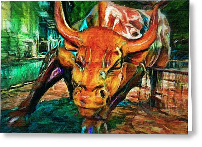Chicago Bull Statue Greeting Card by Yury Malkov