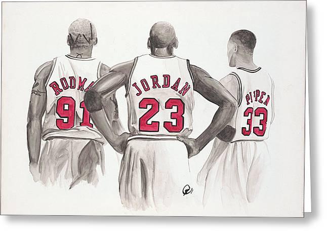 Chicago Bulls Greeting Card by Megan Padilla