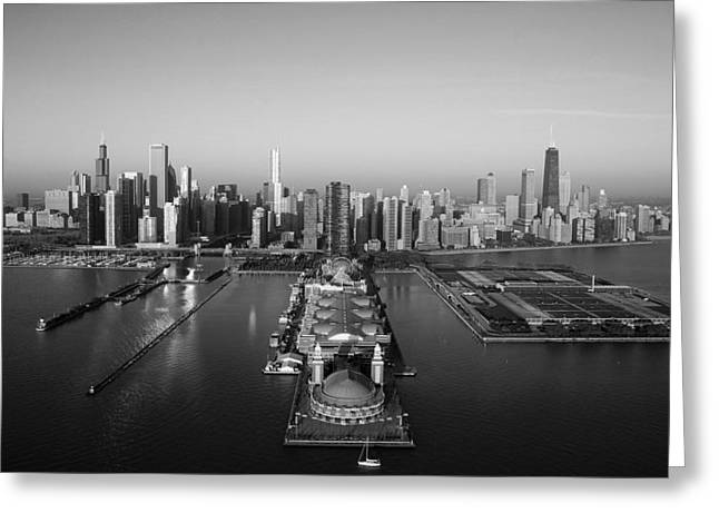 Chicago By Air Bw Greeting Card by Jeff Lewis