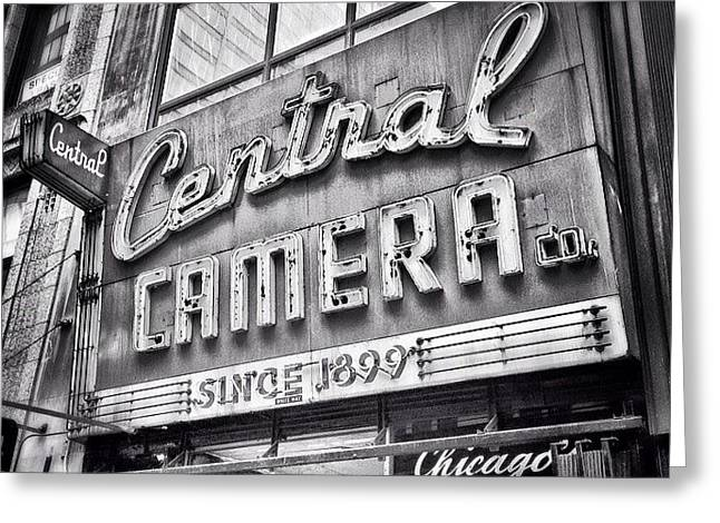 Chicago Central Camera Sign Picture Greeting Card
